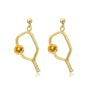 Pickleball Dangle Post Earrings with Birthstone in Gold Plate