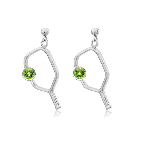 Pickleball Dangle Post Earrings with Birthstone in White Gold