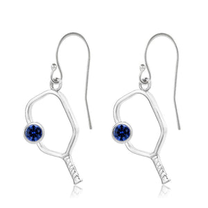 Pickleball Earrings with Birthstone in White Gold