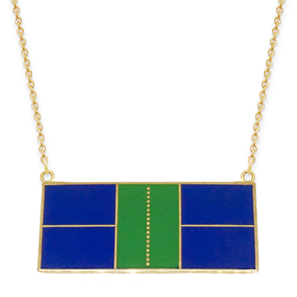 Pickleball Court Necklace in Enamel and Gold Plate