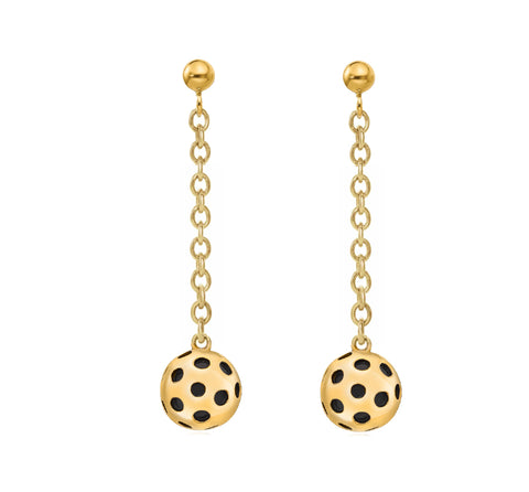 Pickleball Dangle Post Earrings | Ball Drop in Gold Plate