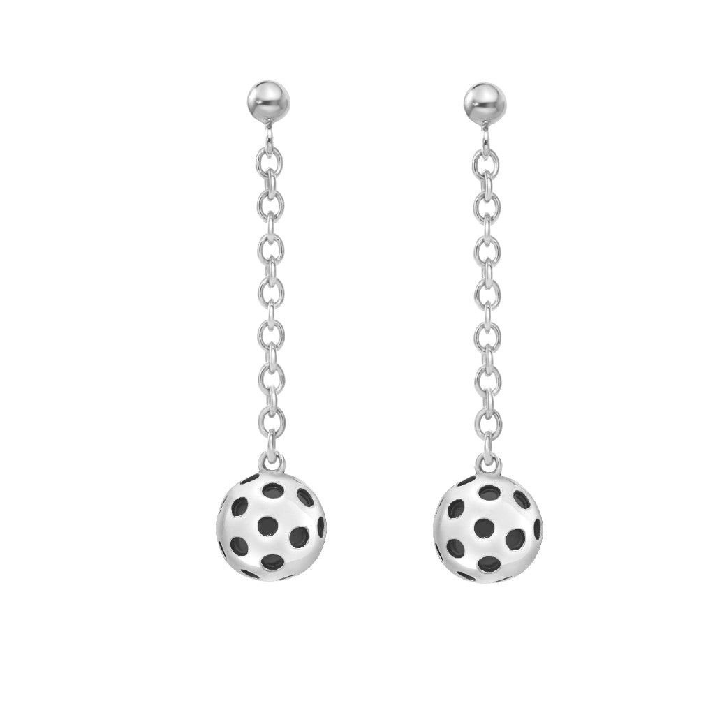 Pickleball Dangle Post Earrings | Ball Drop in Sterling Silver