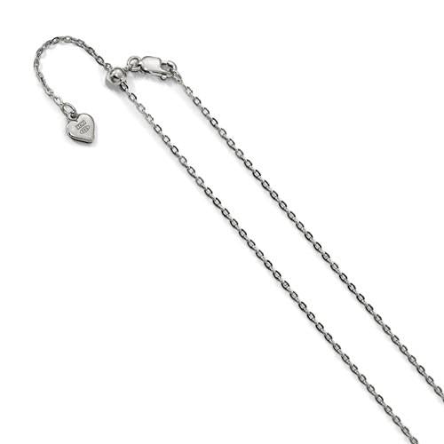 White Gold Cable Chain Adjustable