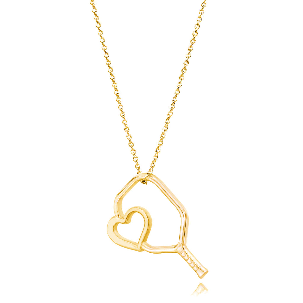 Pickleball Necklace | Floating Heart Paddle in Yellow Gold