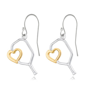 Pickleball Earrings | Heart Paddle in White Gold