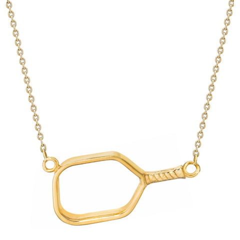 Pickleball Necklace | Open Paddle Sideways in Gold Plate