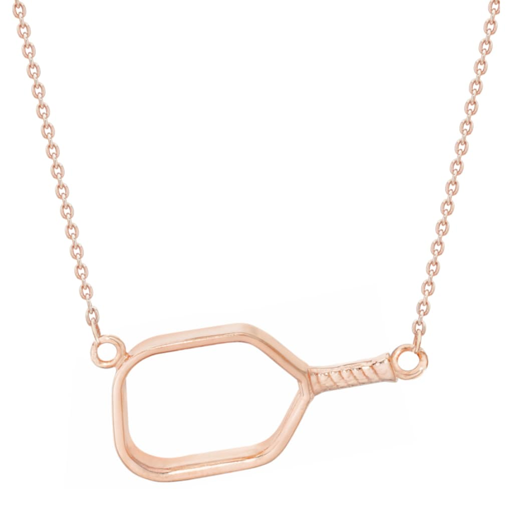 Pickleball Necklace | Open Paddle Sideways in Rose Gold Plate