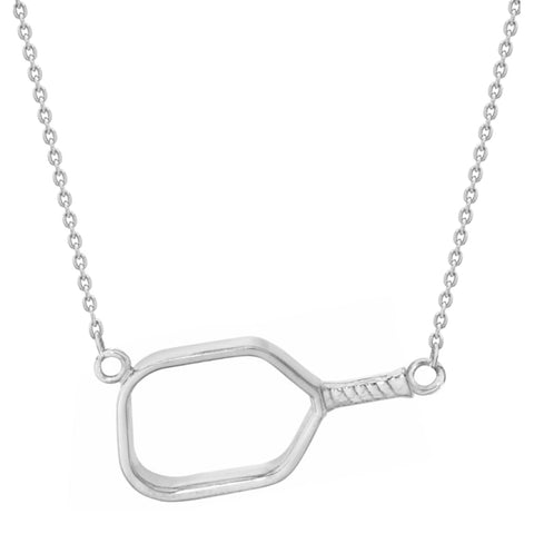 Pickleball Necklace | Open Paddle Sideways in Sterling Silver