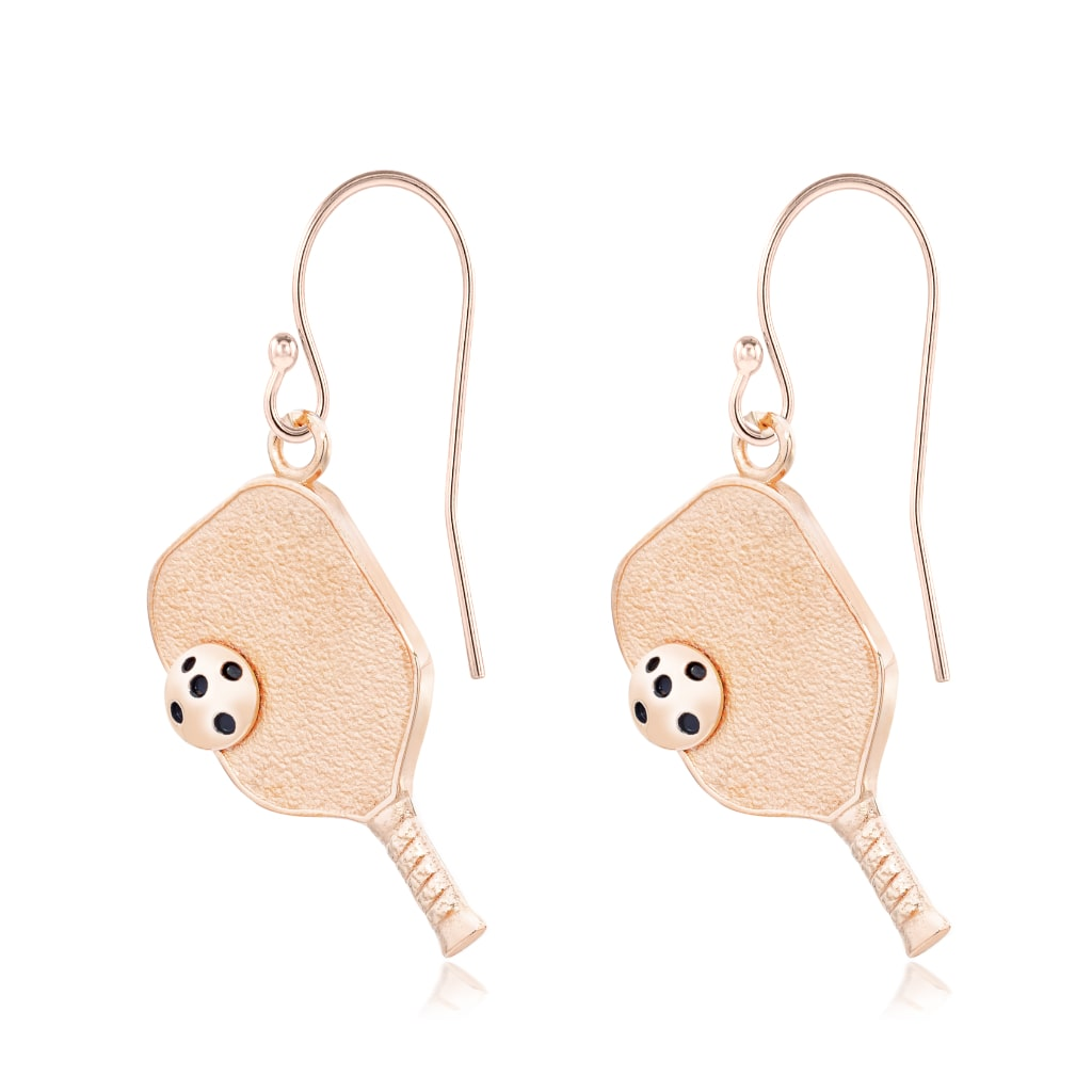 Pickleball Earrings | Paddle & Ball in Rose Gold