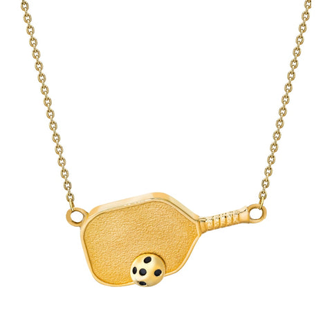 Pickleball Necklace | Paddle with Ball Sideways in Gold Plate