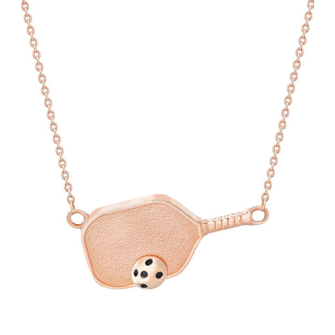 Pickleball Necklace | Paddle with Ball Sideways in Rose Gold Plate