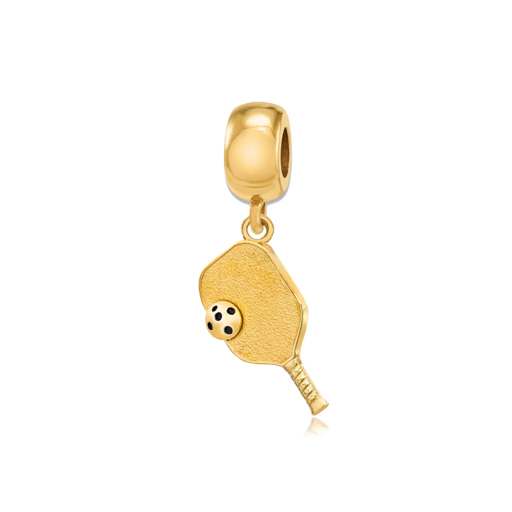 Pickleball Bead Charm | Paddle & Ball in Gold Plate