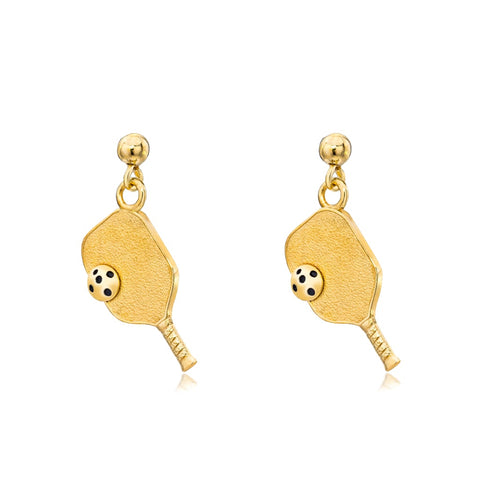 Pickleball Dangle Post Earrings | Paddle & Ball in Yellow Gold - Medium