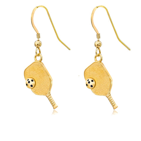 Pickleball Earrings | Paddle & Ball in Yellow Gold - Medium