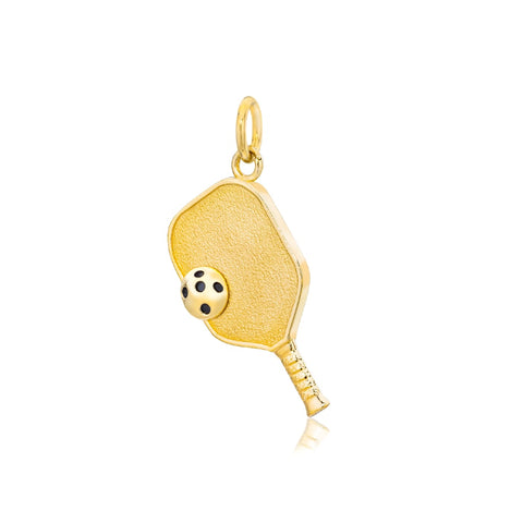 Pickleball Pendant | Paddle & Ball in Yellow Gold - Medium