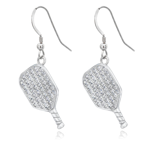 Pickleball Earrings | CZ Paddle in Sterling Silver