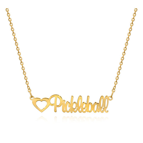 Pickleball Necklace | Cursive Script Yellow Gold