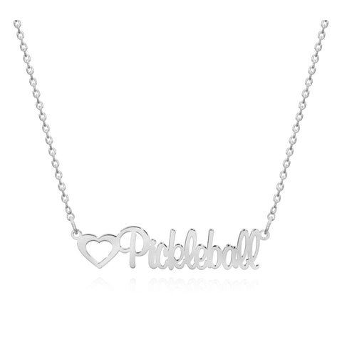 Pickleball Necklace | Cursive Script White Gold