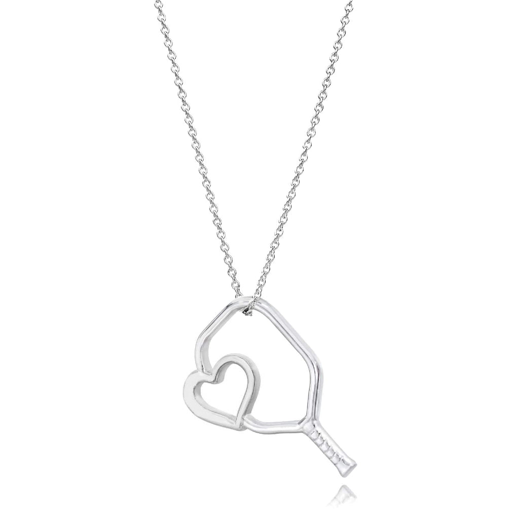 Pickleball Necklace | Floating Heart Paddle in White Gold