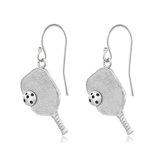 Pickleball Earrings | Paddle & Ball in White Gold