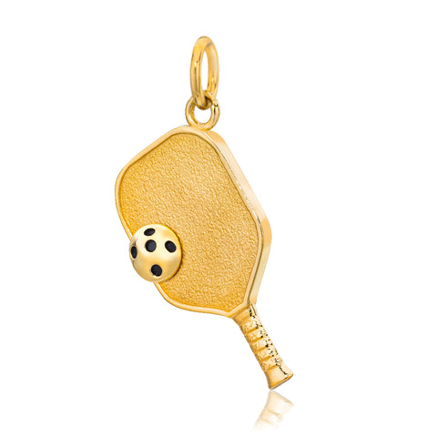 Pickleball Pendant | Paddle & Ball in Gold Plate