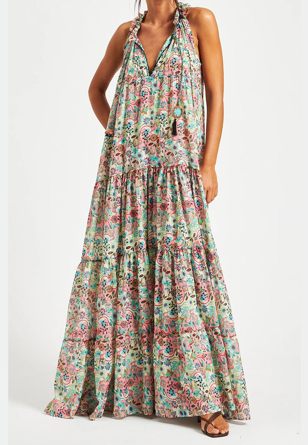 Ludovica tropical print long dress