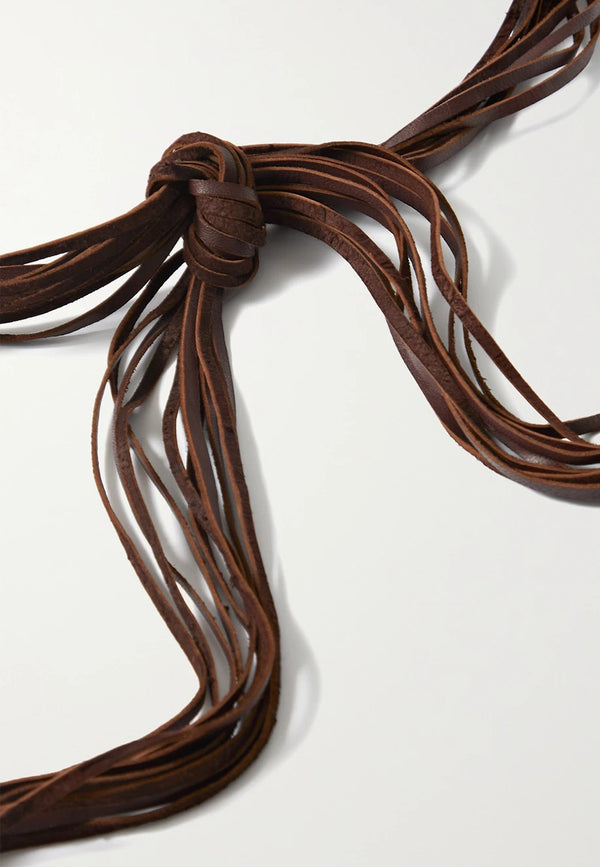 Balche small fringed braided leather belt