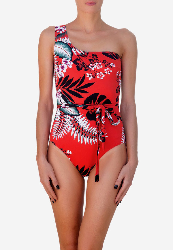 Pia one-shoulder belted swimsuit