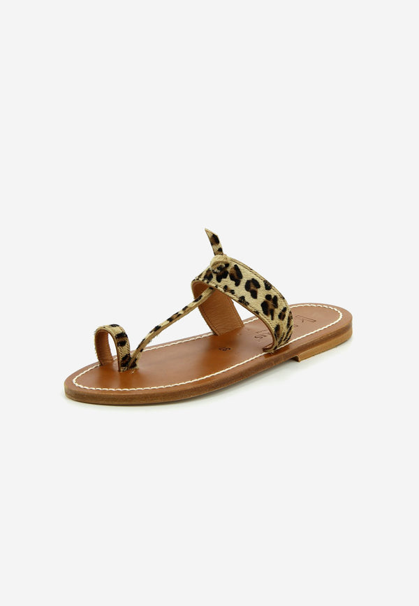 Ganges leopard leather slides