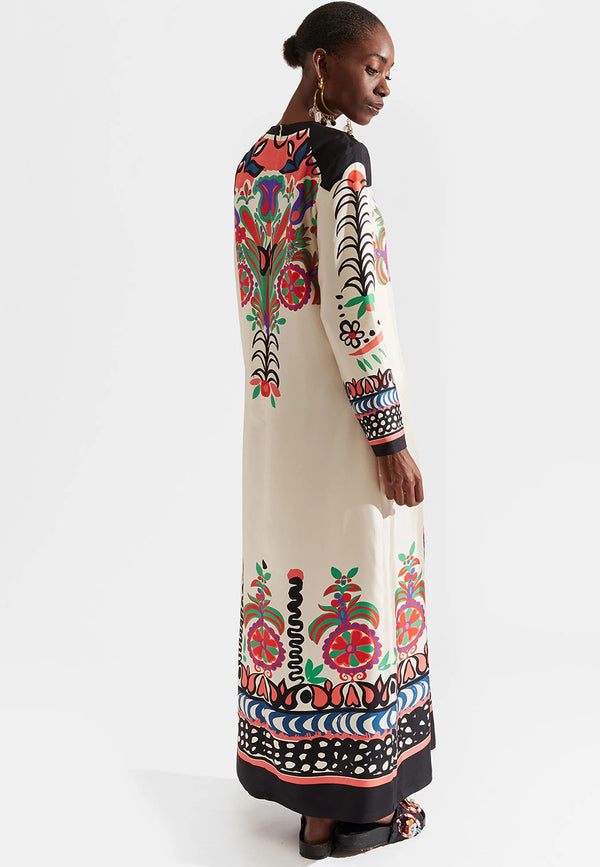 Swing silk-twill A-line maxi dress