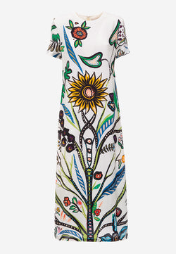 Swing A-line printed maxi dress