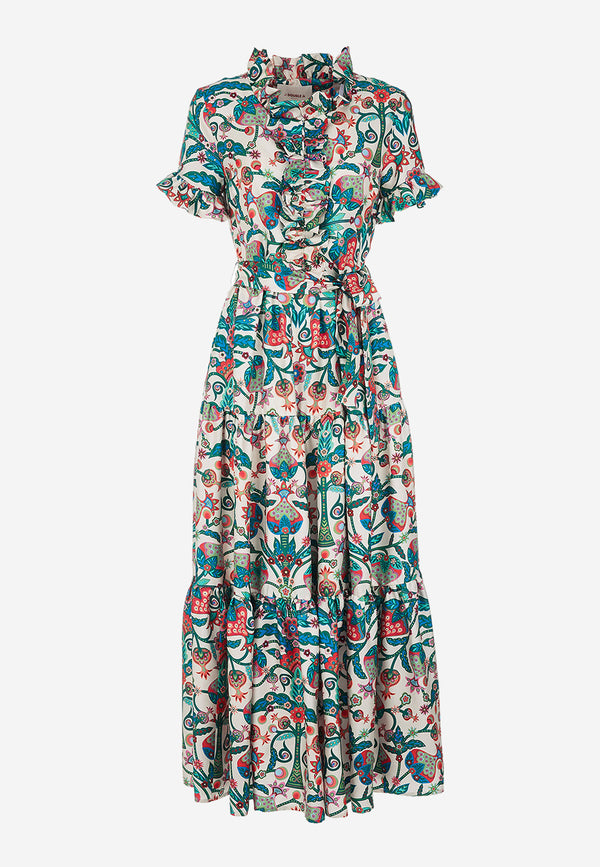 Long And Sassy silk twill printed dress