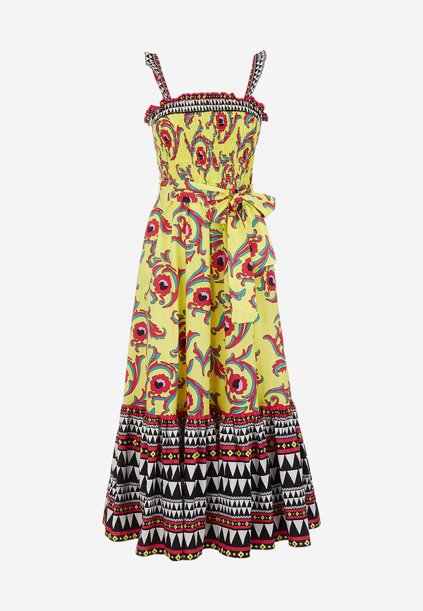 Smock cotton poplin printed midi dress