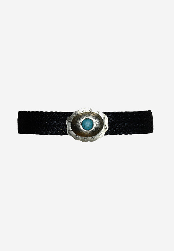 Blue stone braided leather belt