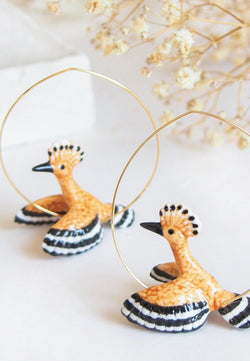 Huppe bird hoop earrings
