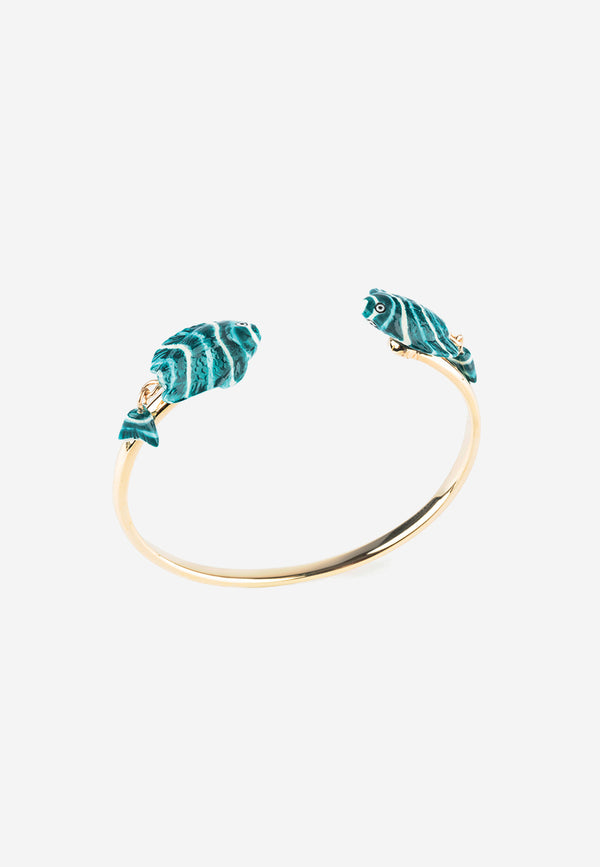 Blue & White fish face to face cuff