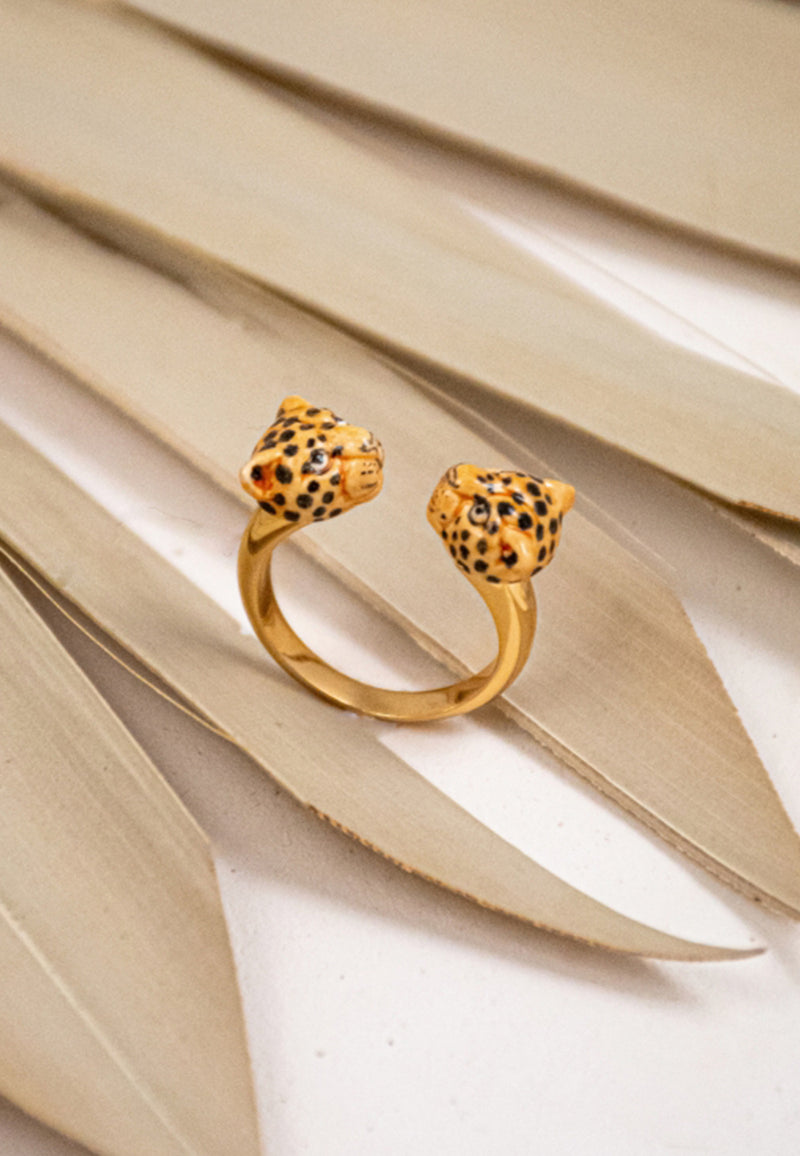 Leopard head face to face ring