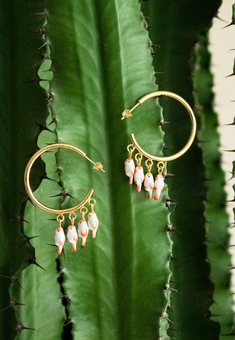 White cardinal birds tribe earrings