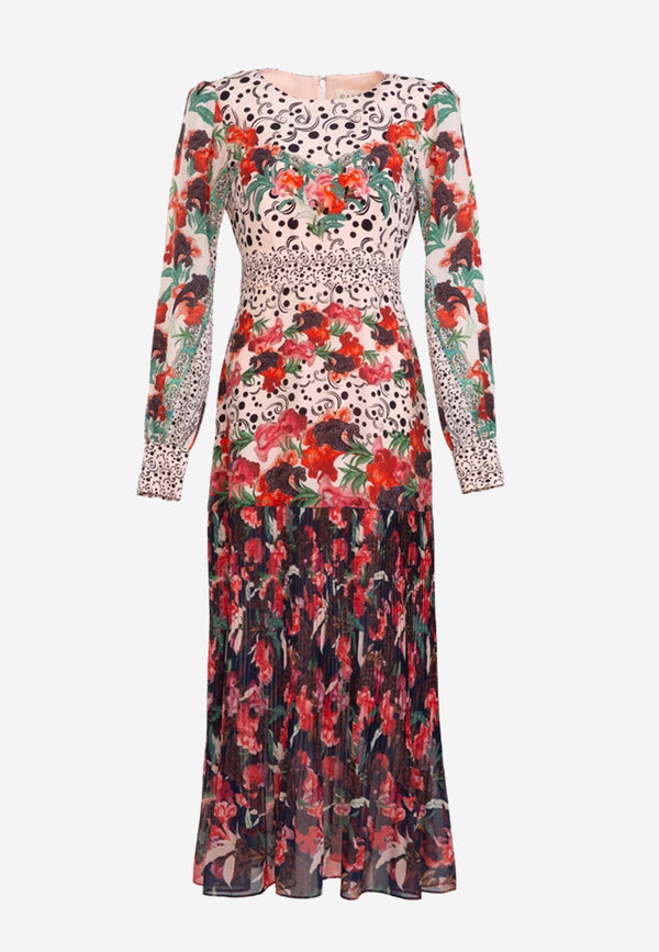 Vera floral-print silk-blend midi dress