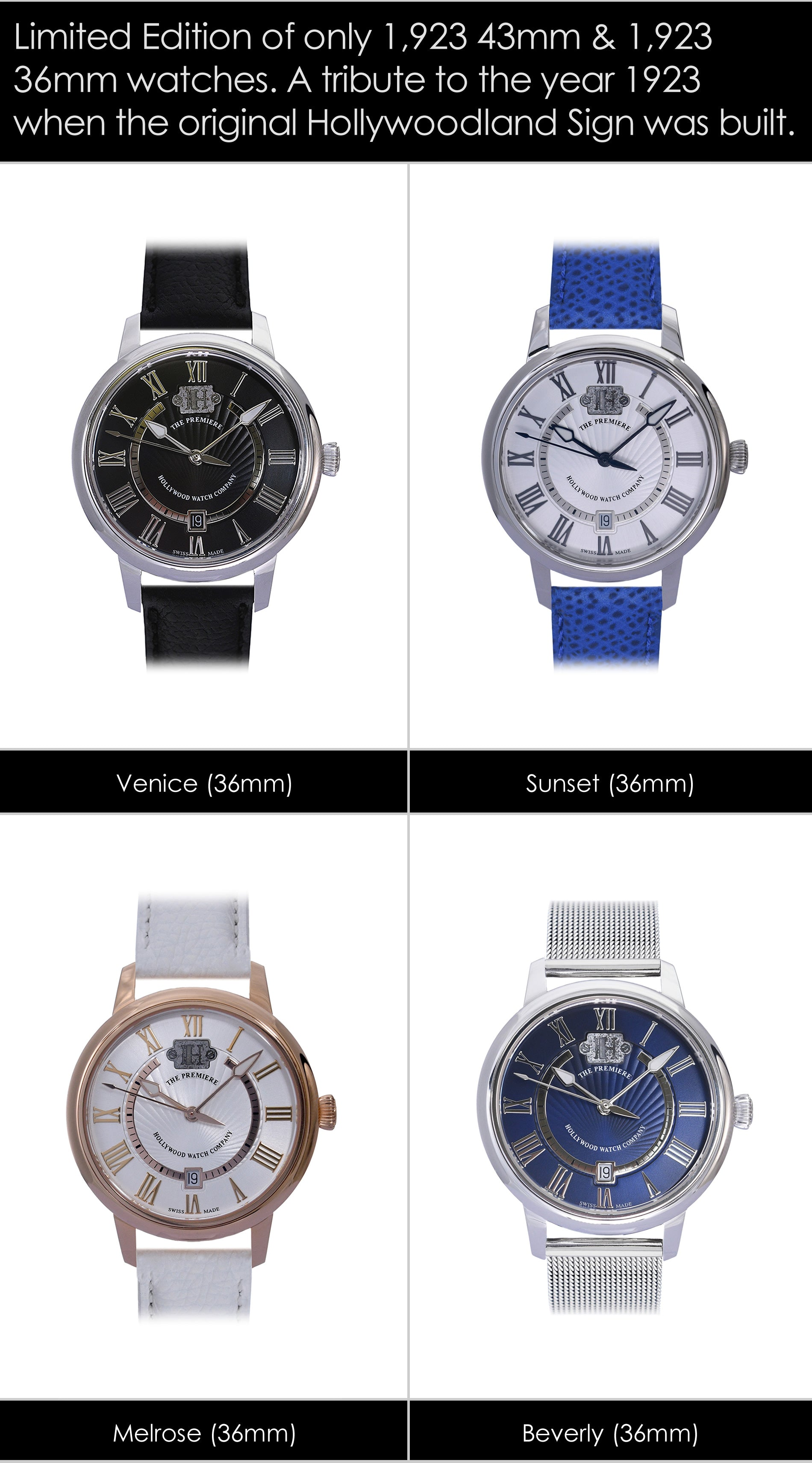 The Premiere Hollywood Watch 36mm Collection - For Women & Men