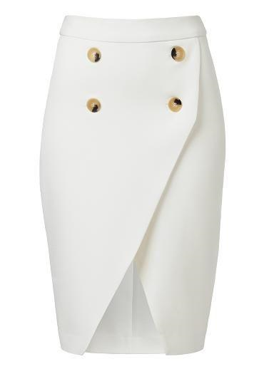 white rosline brown botton curved skirt