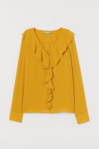 yellow crep blouse