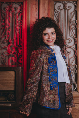 Velvet Theatrical Jacket with front Embellishment in blue limited collection