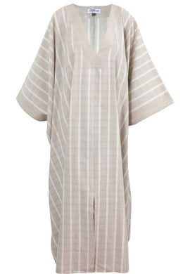 Stripped_Linen _V_Neck_Caftan