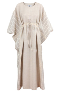 Linen Patchwork Abaya With Crochet Trim