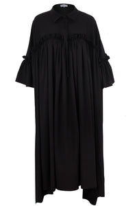 Long Black Dress With Ruffles