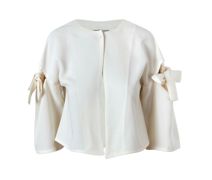 Cold Shoulder Crepe Short Jacket