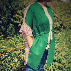 Indian Green Long vest with ruffles