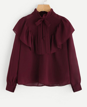 Load image into Gallery viewer, Ruffled crepe blouse