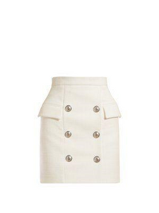 white rosline silver botton skirt